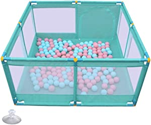 Playpen Baby  Portable Play Yard Security Fence 66cm Tall Suitable For Babies And Toddler Without Ball And Cushion  Color Blue