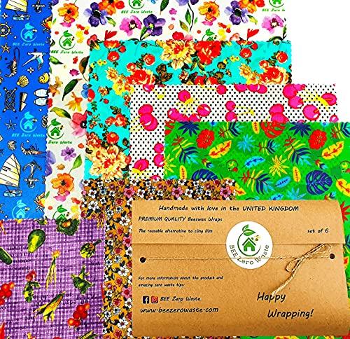 Emballages de cire d'abeille, lot, couleurs aléatoires, BEE Zero Waste, fait à la main, couvercles écologiques biodégradables et sans plastique, emballage alimentaire (Lot de 6)