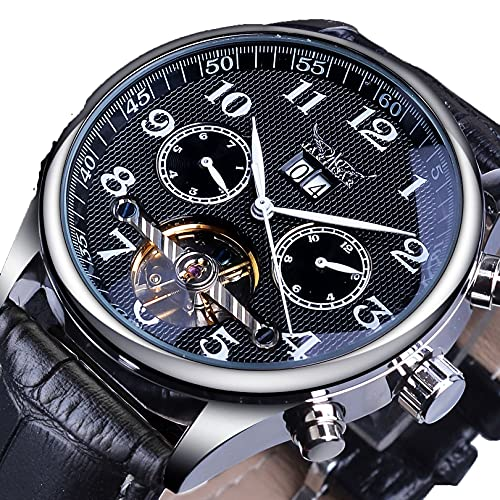 Excellent Reloj de Pulsera para Hombre Reloj mecánico automático Borde Black Tourbillon Dial Correa de Cuero Impermeable