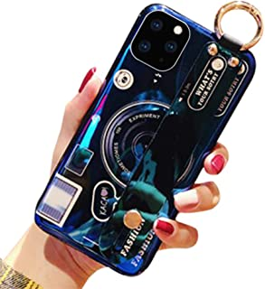 Aulzaju iPhone 11 Pro Max Case with Wrist Strap iPhone 11 Pro Max Hand Holder Stand Case with Ring Luxury Fashion Bling Cute Camera Design for iPhone 11 Pro Max 6.5 Inch for Kids Girls Women-Black