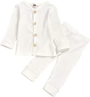 Kids Newborn Infant Baby Boys Girls Pure Color Button Ruffle Cardigan Pants Set Fall Winter Clothes Set