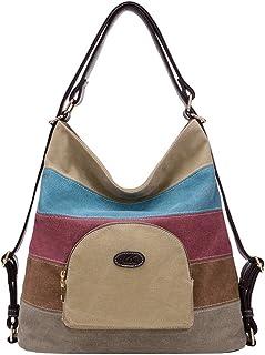 PB-SOAR Damen Vintage Canvas Schultertasche Rucksack Handtasche Freizeittasche Vielseitige Tasche Khaki