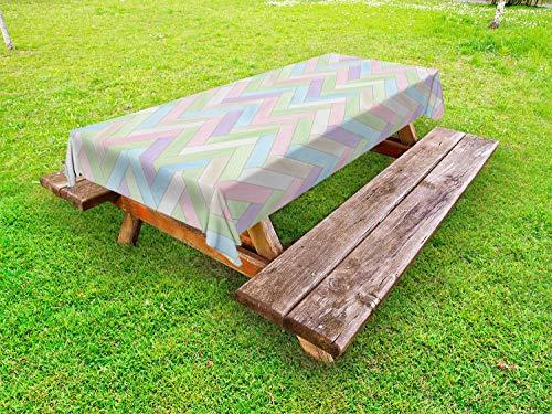 ABAKUHAUS Pastell Outdoor-Tischdecke, Parkett mit Fischgrätmuster Weich, dekorative waschbare Picknick-Tischdecke, 145 x 305 cm, Mehrfarbig