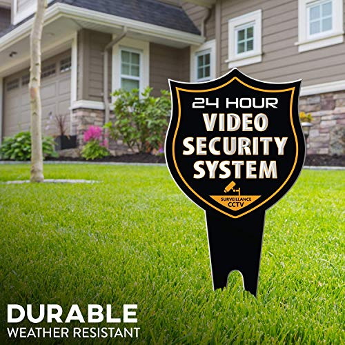 SignDuty 24 Hour Video Security System DiBond Metal Yard Sign + No Soliciting Door Sign w/Double Sided mounting Strip- Surveillance Camera Warning Sign for Home