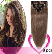 Clip in on Hair Extensions Remy Human Hair Standard Weft 18 Inch 70g 8 Pcs 18 Clips Thick Soft Silky Straight Hair for Women Beauty Gift #6 Light Brown