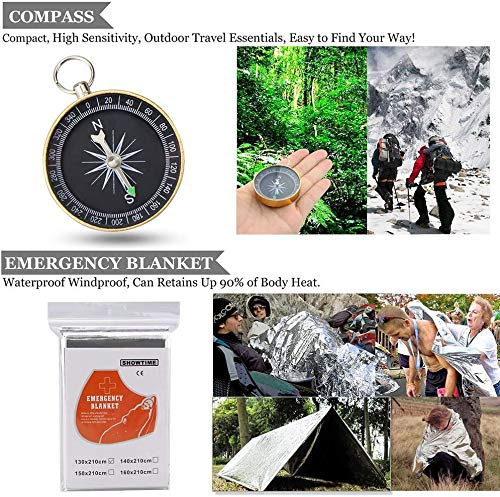 Emergency Survival Kit, ENON 9-In-1 Compact Outdoor Survival Gear Kits Portable EDC Emergency Survival Tools for Camping Hiking Hunting Climbing Travelling or Wilderness Adventures
