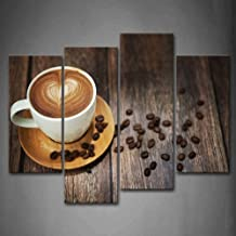 Brown Coffee with Heart Pattern in White Cup Wall Art Painting The Picture Print On Canvas Food Pictures for Home Decor Decoration Gift