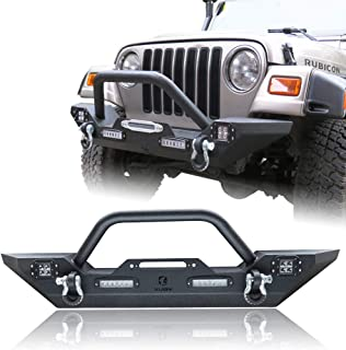 Hunter Front Bumper Compatible for 87-06 Jeep Wrangler TJ & YJ Rock Crawler Black Texture Bumper with Winch Plate & License Plate Bracket & 4X LED Lights & 2X D-Rings Off Road