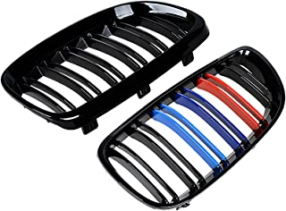 2pcs M5 Style Front Upper Kidney Grill for 08-13 3-Series M3(E92/E93) 07-10 BMW E92 2D Coupe E93 (Glossy Black + M color)