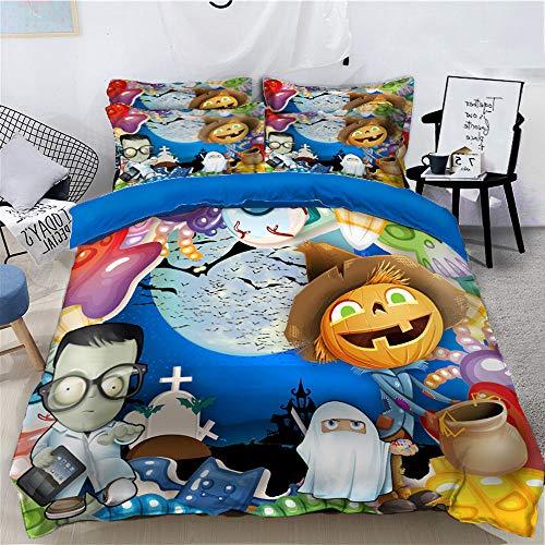 geek cook Bedding 4 piece set,Halloween day 3d four-piece duvet cover sheet pumpkin lantern skull-45_Three-piece Twin