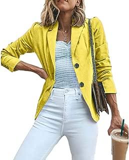 Womens Plain Office Work Blazers Long-Sleeved Jackets Slim Outwear