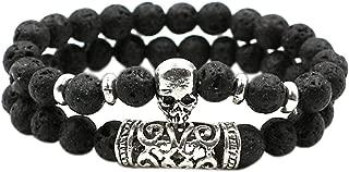 2PCS Bead Bracelets for Men Women Natural Stone Bracelet Skull Head Bangle