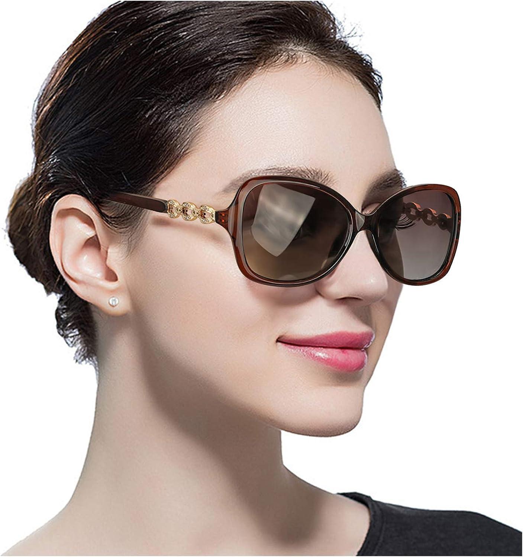 Predineff Women's Oversized Polarized Sunglasses, Classic Goggles with 100% UV Predection, Fashion Big Frame Sun Glasses