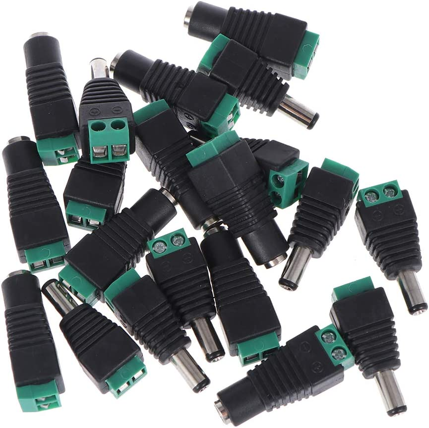 LEORX 2.1 * 5.5 mm macho y hembra DC Power Plug Jack adaptadores conectores para cámara CCTV dirigido tira luces - 10 pares