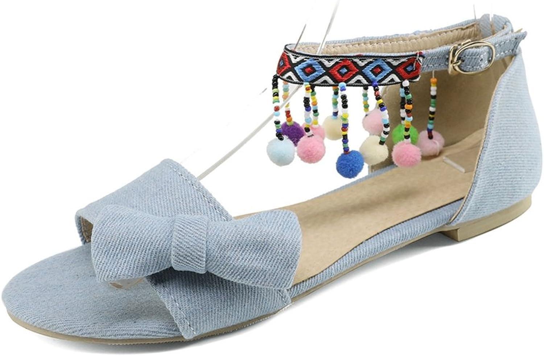 GIY Women's Bohemian Fringe Bowknot Flat Sandals Open Toe Comfort Fashion Summer Beach Dress Sandals shoes