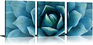 Plant Wall Art Blue Agave Canvas Prints Agave Flower Stretched And Framed Artwork Canvas Printing Canvas Wall Art Print 16 x 36 Inch Total Deco Gift (Blue, 16x36inch)