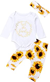 Newborn Infant Baby Girls Outfit Isn't She Lovely Romper Top + Sunflower Pants Headband Clothes Set