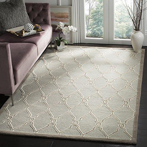 Safavieh Strukturierter Teppich, CAM352, Handgetufteter Wolle, Hellgrau/Elfenbein, 91 X 152 cm