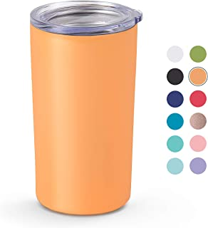 Maars Skinny Mini Insulated Tumbler for Coffee and Tea, 12 oz | Double Wall Vacuum Sealed - Peach