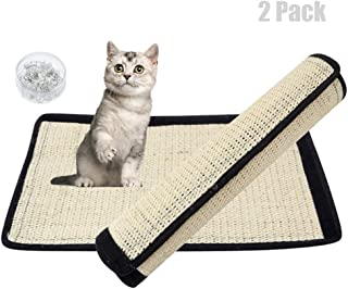 Milky House Cat Scratching Mat Cat Scratcher Replacement for Cat Tree Natural Sisal Mat with Velcro and Spiral Pins Protecting Your Furniture Sofa Couch Chair Desk Legs (2 Pack)