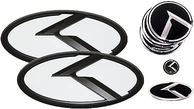 3D K Logo Emblem White & Black Edition Set 8pc Front + Rear + Steering Wheel + Wheel Cap + Mini Sticker (Fit: KIA Picanto , Morning)