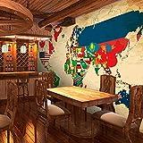 Tapete Retro Nostalgische Weltkarte Hintergr& Wandverkleidung Tapete Restaurant Bar Flagge Teilen Dekorative Wandbild Schlafzimmer Tapete-350Cmx245Cm