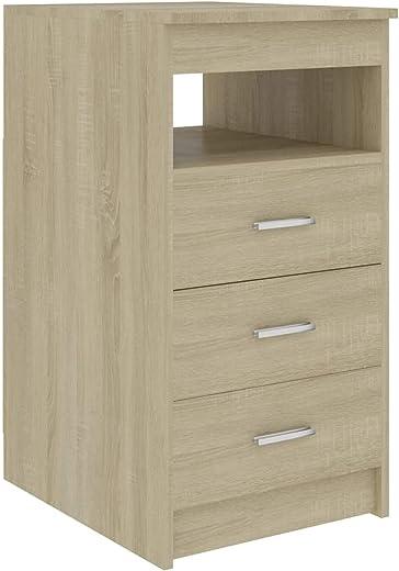 Tidyard Sideboard mit 3 Schubladen und 1 oberen Ablagefach Schubladenschrank Bürocontainer Aufbewahrungsregal Kommode Büroschrank Sonoma-Eiche…