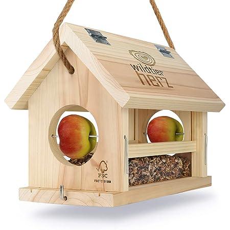 wildtier herz | Mangeoire Oiseaux Exterieur en Bois - Maison Oiseaux, Distributeur Suspendu Imperméable d'Extérieur - Mangeoire pour Oiseaux Sauvages