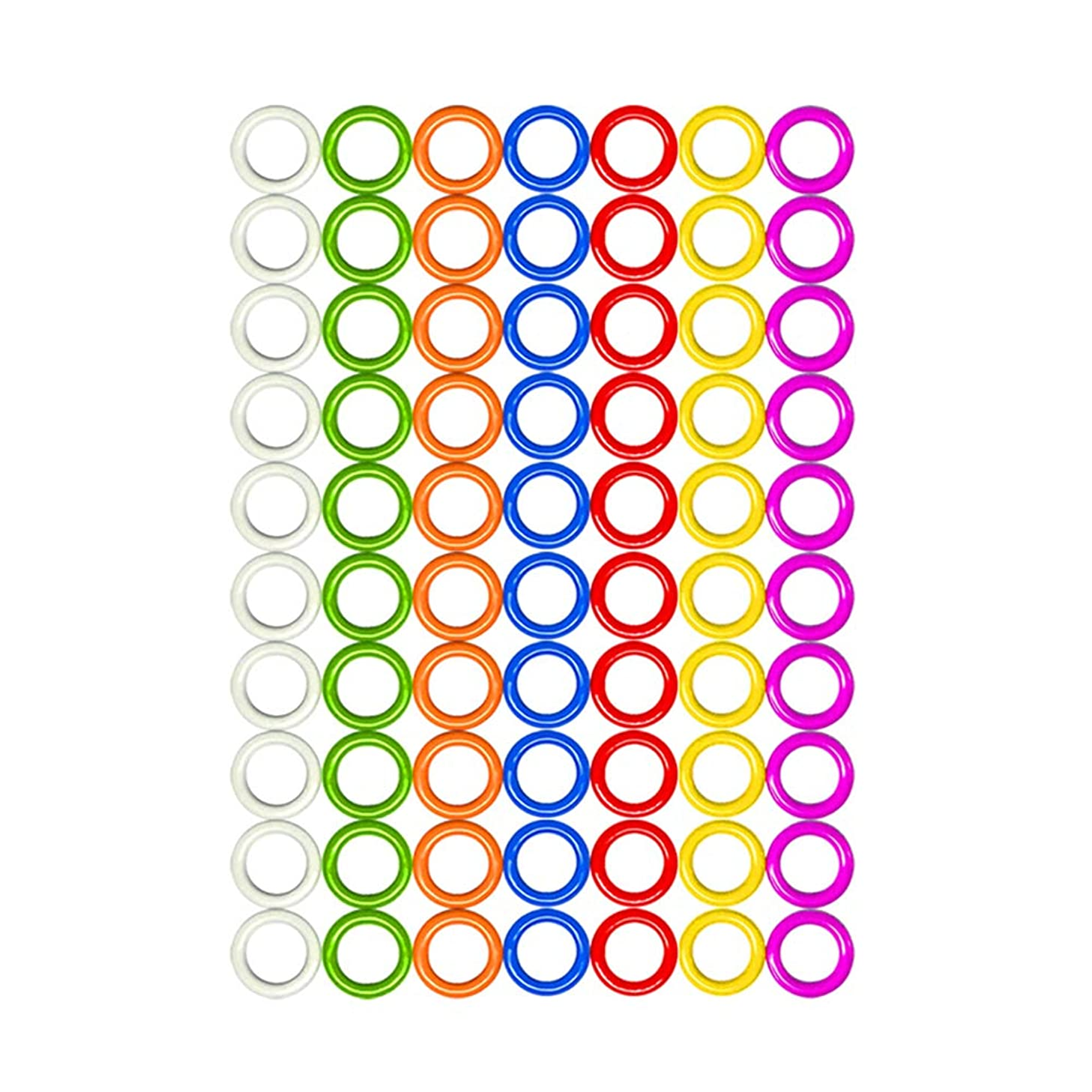 Hard Stitch Ring Markers for Knitting/Crochet/etc(from ?5mm to ?11mm) 7 Colors 140pcs or 70pcs (Hard O-Rings ?7mm, 7 Colors 140pcs)