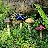 Danmu Garden Decor, 4pcs (Random Color) Ceramic Mushroom for Garden, Yard, Fairy Garden - Lawn Ornament Décor, Pottery Ornament 4.52' in Height