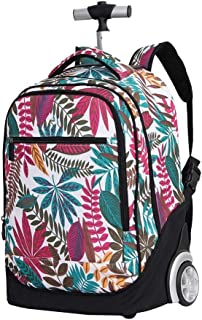 Cooralledtooere Trolley Backpack - Lightweight Waterproof Travelling Backpack Rolling Backpack with Wheels, Nylon Kids Luggage,One Size (Color : White, Size : 49 * 35 * 24CM)
