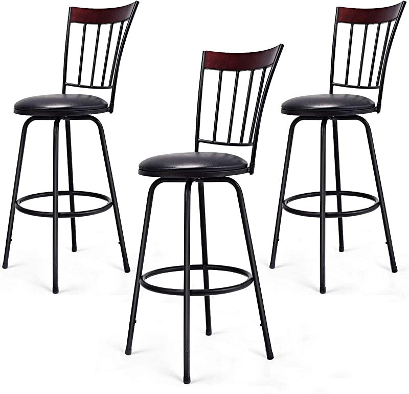 COSTWAY Bar Stools Modern Swivel Height Adjustable PU Leather Counter Metal Chair With Ergonomic Backrest Footrest For Bistro Pub Dining Room Kitchen Furniture Set Of 3