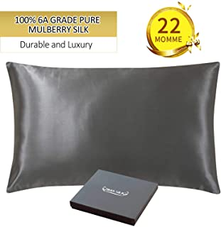 ZIMASILK 22 Momme 100% Mulberry Silk Pillowcase for Hair and Skin,More Breathable&Smooth Silk,Both Sides Natural Silk,1 Pc Gift Box(King 20``x36``, Space Grey)