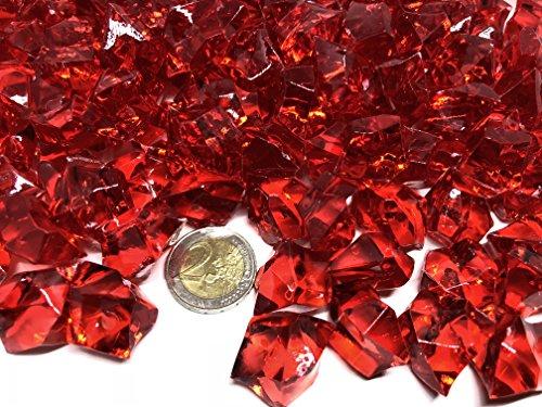 140 Stück 500g große rot Deko Eis Diamanten 32mm Brillianten Strasssteine Acrylsteine basteln Dekosteine Gltzersteine Strass Steine zum Verzieren Dekorieren von CRYSTAL KING