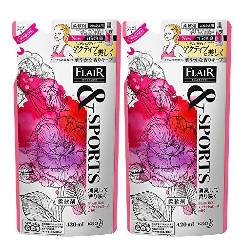【Amazon.co.jp 限定】【まとめ買い】フレアフレグランス &SPORTS(スポーツ) 柔軟剤 消臭して香り咲く スプラッシュローズの香り 詰め替え 420ml×2個