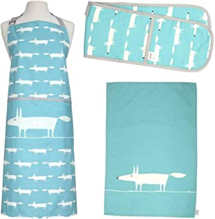 Dexam Mr. Fox Kitchen Linen Set   Apron, Oven Mitts and 2 Dish Towels in Teal Blue by Scion