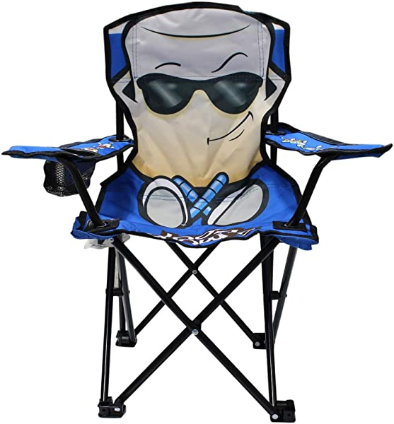 Wilcor Kids Folding Camp Chair With Cup Holder And Carry Bag Smore Cool Blue