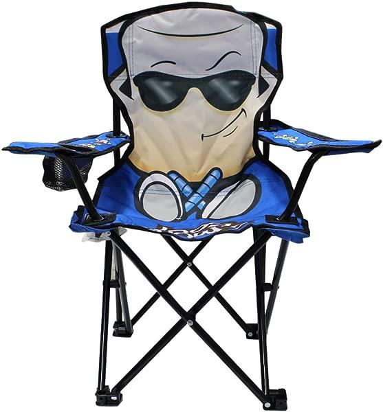 Wilcor 儿童折叠式野营椅,带杯架和手提袋 Smore Cool Blue