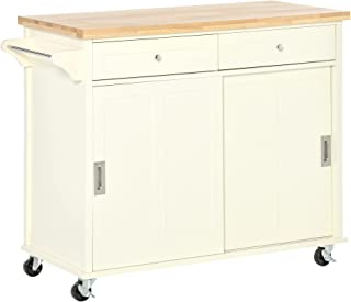 Desserte îlot de cuisine - 2 tiroirs, 2 placards portes coulissantes avec étagères - dim. 110L x 49l x 89H cm - MDF écru p...