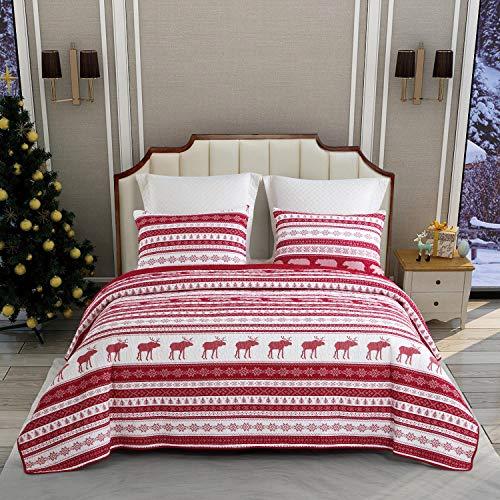 ENCOFT Weihnachten Quilt 3 Teilig Tagesdecke Kinder Baumwolle Bettüberwurf Steppdecke Patchwork Bettdecke(230 x 250 cm, Rot)