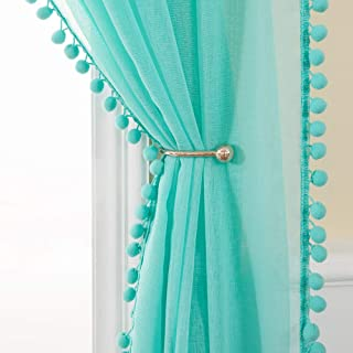 MIULEE Linen Textured Window Sheer Curtains with Pom Pom for Bedroom Living Room Semi Transparent Kids Voile Panels for Light Filtering W 54 x L 90 Inches 2 PCs Turquoise