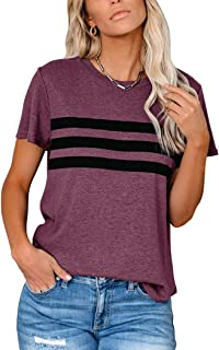 PRETTODAY Women's Short Sleeve Tops Color Block Shirts Round Neck Casual Blouses