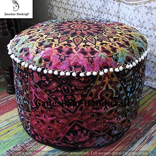 GANESHAM Indian Mandala Pouf Ottoman Cotton Floor Pillow Hippie Boho Decorative Home Decor Footstool Cover Bohemian (Multi)