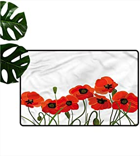 HOMEDD Bath mat,Poppy Vibrant Blossoms Bouquet,for Outdoor and Indoor,31