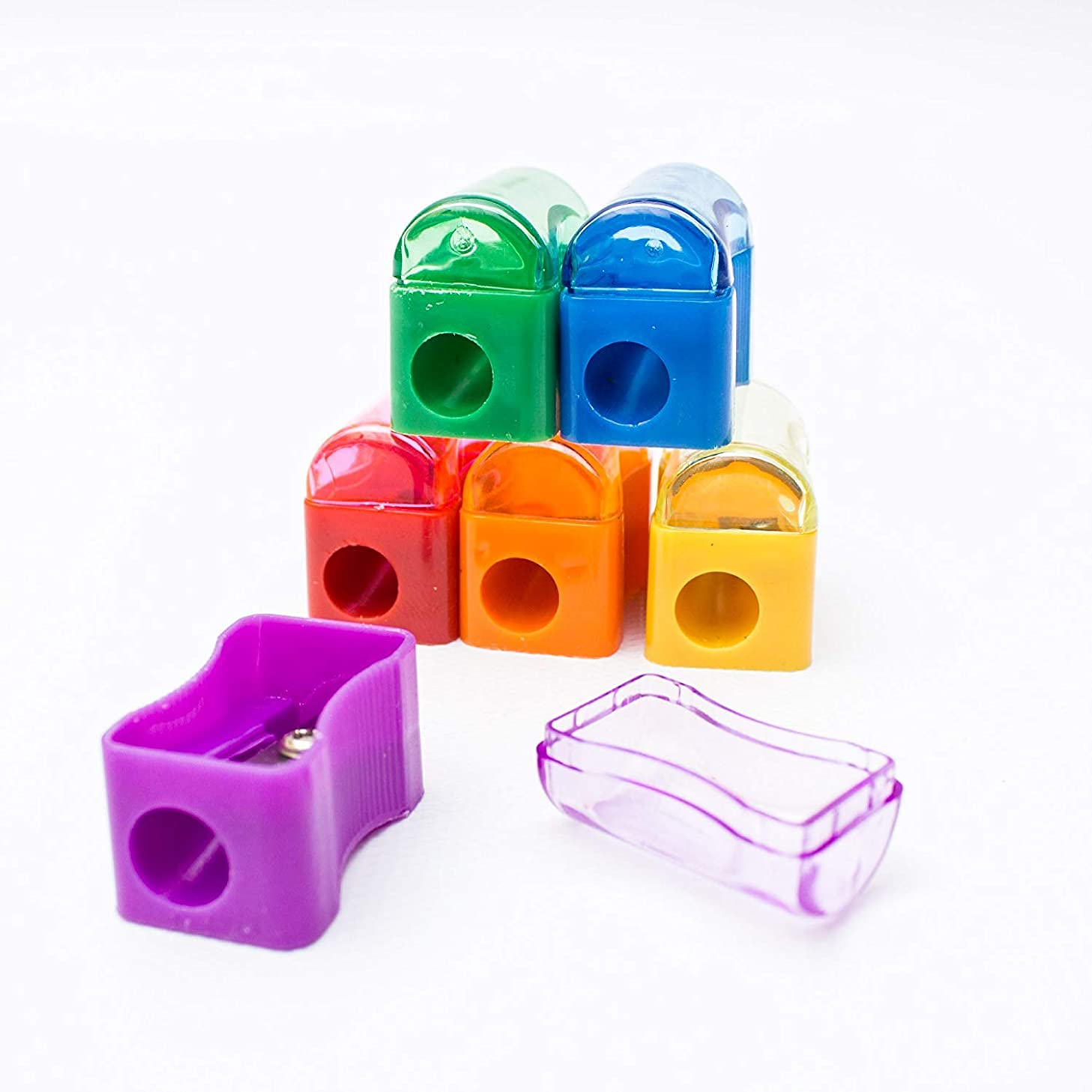 Fun Wave 72 Pack Kids Plastic Manual Pencil Sharpener with Receptacle- Multicolor Assortment- for Home and School - Great for Goodie Bags, Gifts, Give Aways, Office School Supplies