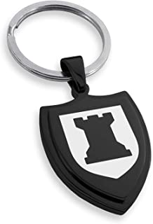 Tioneer Stainless Steel Rook Strategy Coat of Arms Shield Keychain Keyring