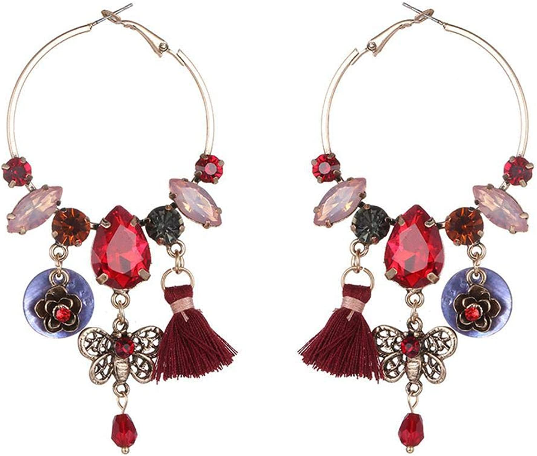 Weiwei Men's Earrings Men's Ear Nails Inlaid Shell Alloy Earrings Crystal Round Earring Earrings Earrings Allergy Birthday Gifts Send Relatives and Friends 90mm45mm