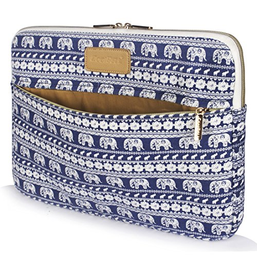 CoolBELL 13.3 Inch Laptop Sleeve Case Cover with Elephant Pattern Ultrabook Sleeve MacBook Canvas Bag for Ultrabook/Tablet/MacBook Pro/MacBook Air/iPad Pro/Surfase/Women/Men (Blue)