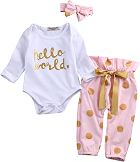 3Pcs Infant Newborn Baby Girls Hello World Romper...