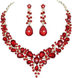 Youfir Bridal Austrian Crystal Necklace and Earrings...